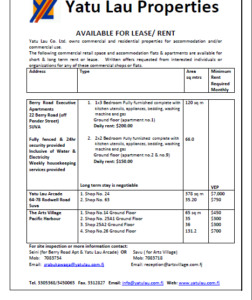 Commercial and Residential Lease - Yatu Lau Comapny Ltd